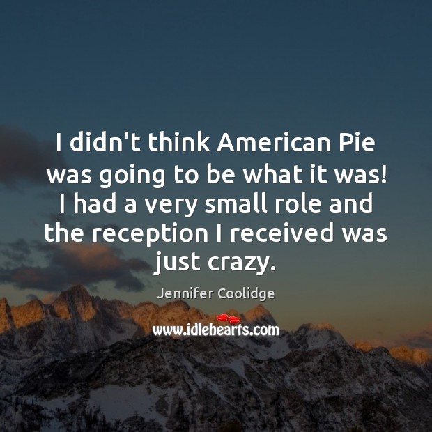Image, I didn't think American Pie was going to be what it was!