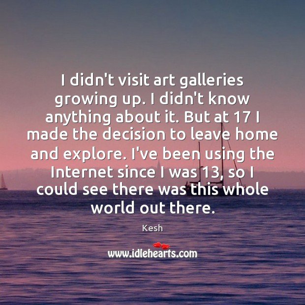 Image, I didn't visit art galleries growing up. I didn't know anything about