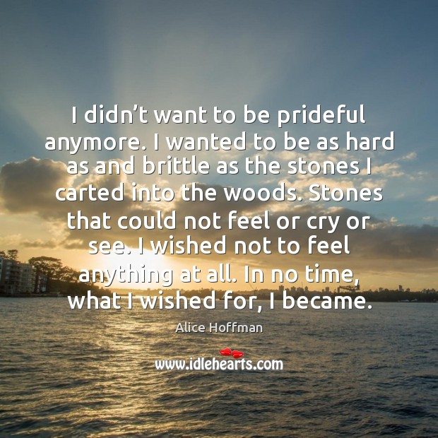 I didn't want to be prideful anymore. I wanted to be Alice Hoffman Picture Quote