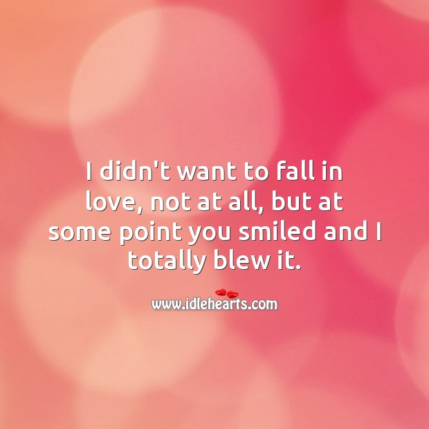 I didn't want to fall in love, not at all, but at some point you smiled and I totally blew it. Falling in Love Quotes Image