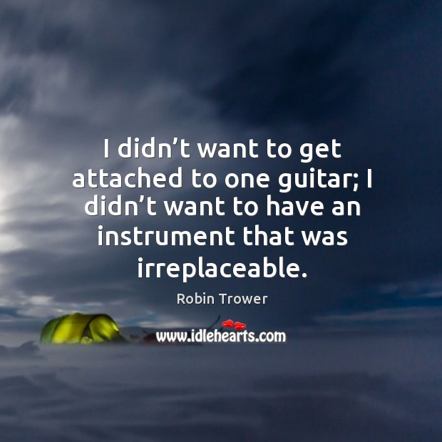 I didn't want to get attached to one guitar; I didn't want to have an instrument that was irreplaceable. Robin Trower Picture Quote