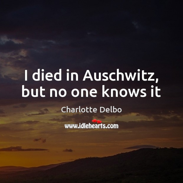 Image, I died in Auschwitz, but no one knows it