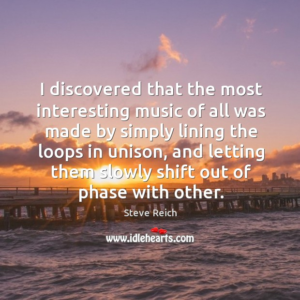 I discovered that the most interesting music of all was made by simply lining the loops in unison Image