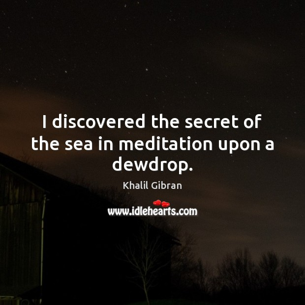 Image, I discovered the secret of the sea in meditation upon a dewdrop.