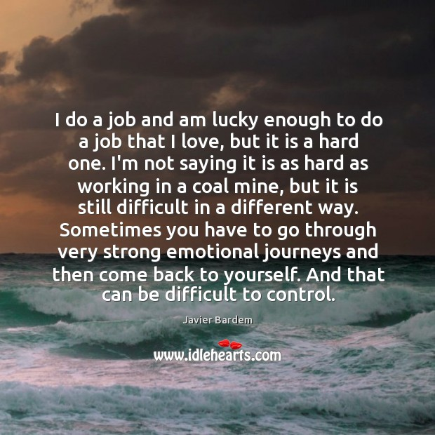 I do a job and am lucky enough to do a job Javier Bardem Picture Quote