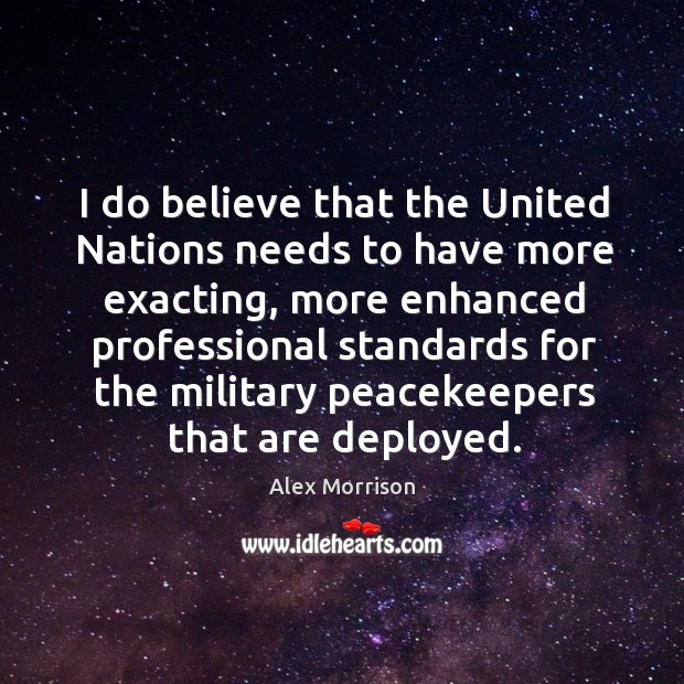 Image, I do believe that the united nations needs to have more exacting, more enhanced professional standards