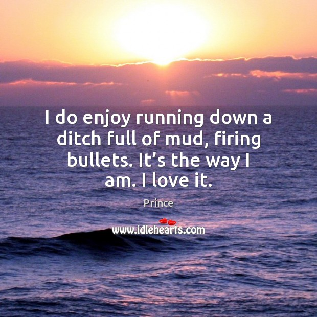 I do enjoy running down a ditch full of mud, firing bullets. Prince Picture Quote