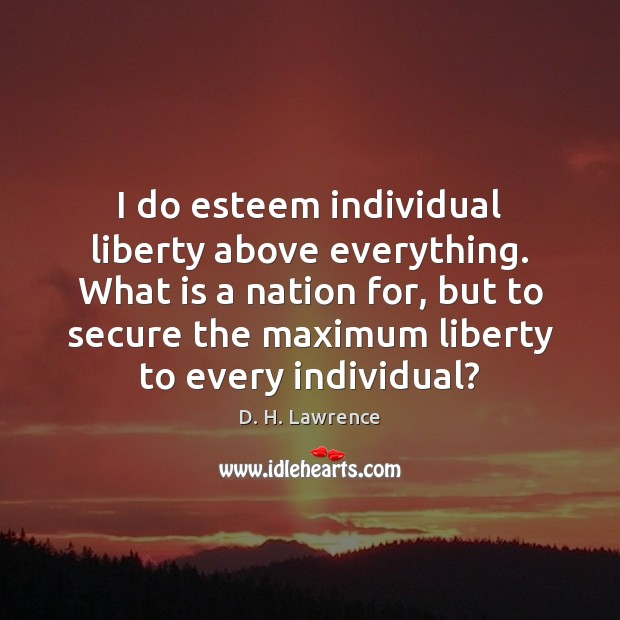 I do esteem individual liberty above everything. What is a nation for, D. H. Lawrence Picture Quote