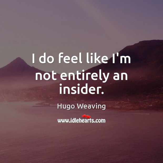 I do feel like I'm not entirely an insider. Hugo Weaving Picture Quote