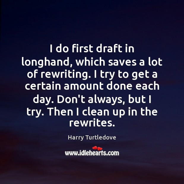I do first draft in longhand, which saves a lot of rewriting. Image