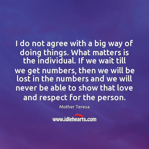 I do not agree with a big way of doing things. What Image