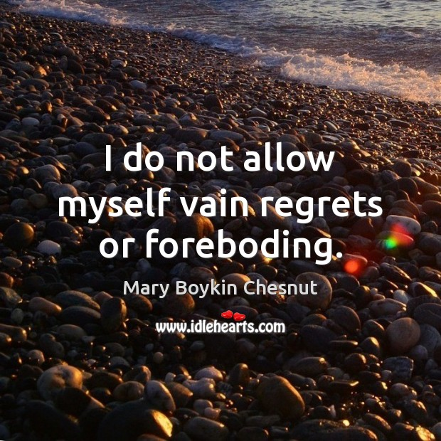 I do not allow myself vain regrets or foreboding. Image