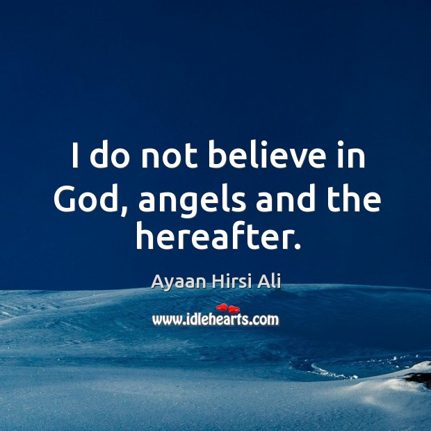 I do not believe in God, angels and the hereafter. Image