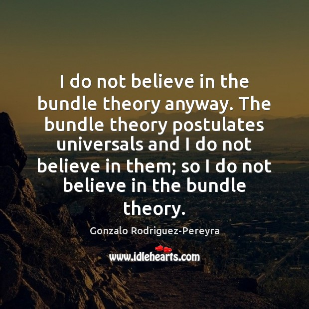 I do not believe in the bundle theory anyway. The bundle theory Gonzalo Rodriguez-Pereyra Picture Quote