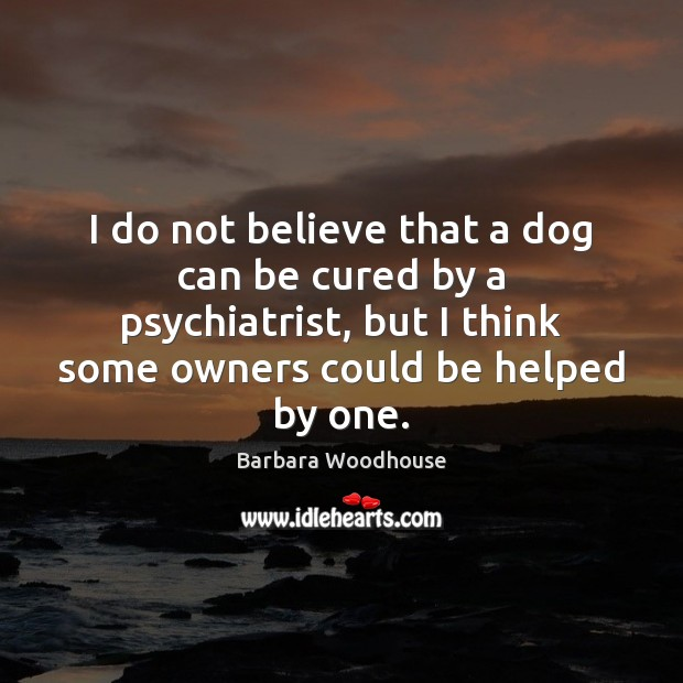 Image, I do not believe that a dog can be cured by a