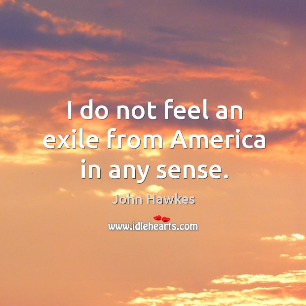 I do not feel an exile from america in any sense. John Hawkes Picture Quote