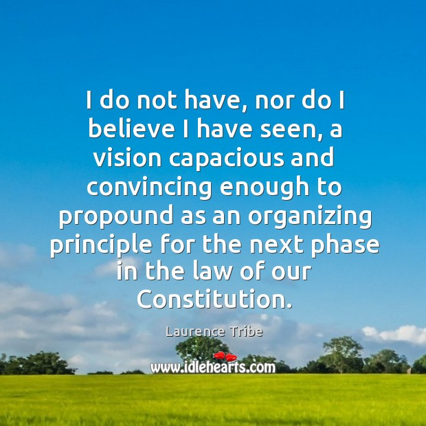 I do not have, nor do I believe I have seen, a vision capacious and convincing enough Image