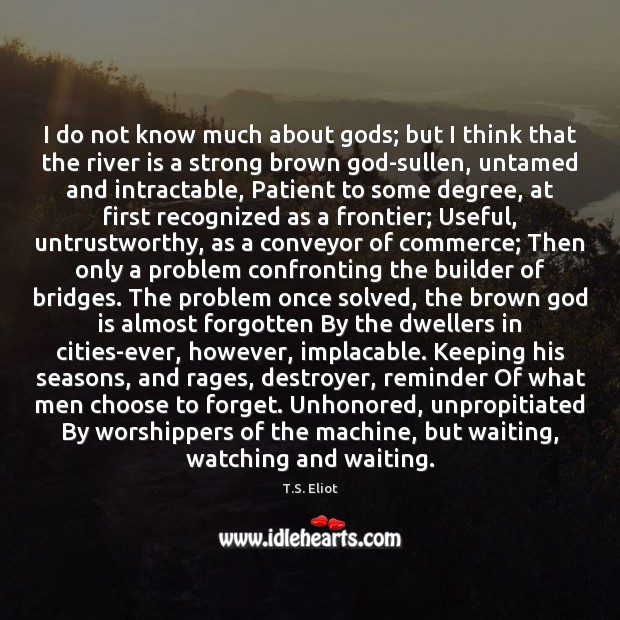 I do not know much about Gods; but I think that the T.S. Eliot Picture Quote