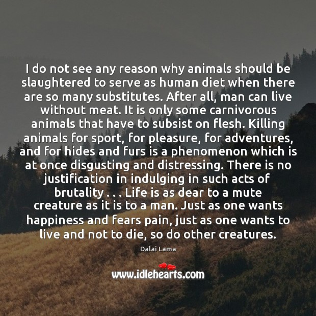 I do not see any reason why animals should be slaughtered to Image