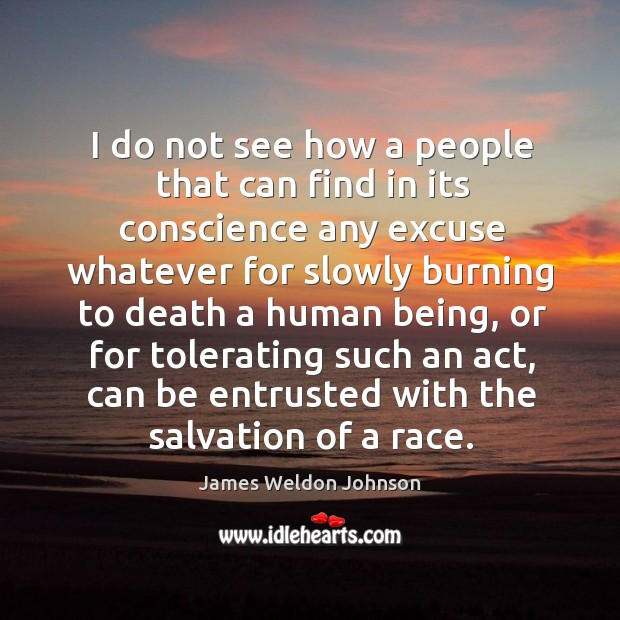 I do not see how a people that can find in its conscience any excuse whatever for slowly James Weldon Johnson Picture Quote