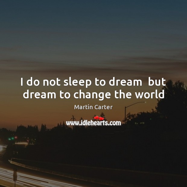 I do not sleep to dream  but dream to change the world Image