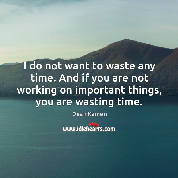 I do not want to waste any time. And if you are not working on important things, you are wasting time. Dean Kamen Picture Quote