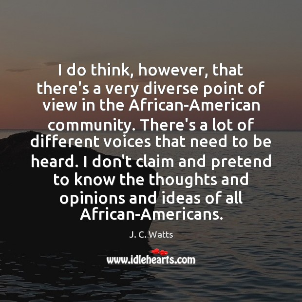 Image, I do think, however, that there's a very diverse point of view