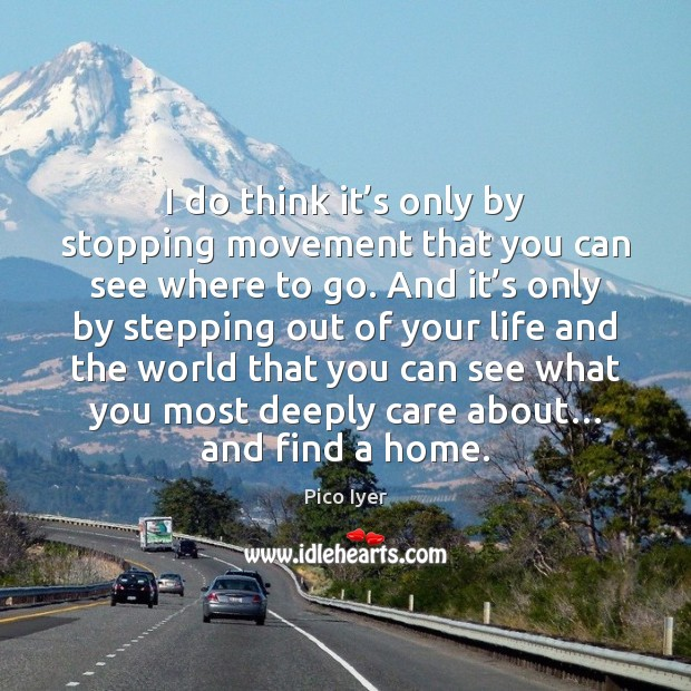 I do think it's only by stopping movement that you can Pico Iyer Picture Quote