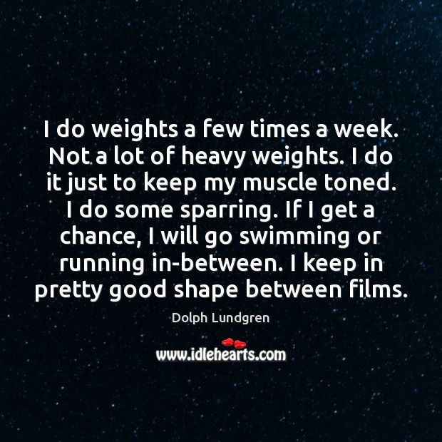 I do weights a few times a week. Not a lot of Image