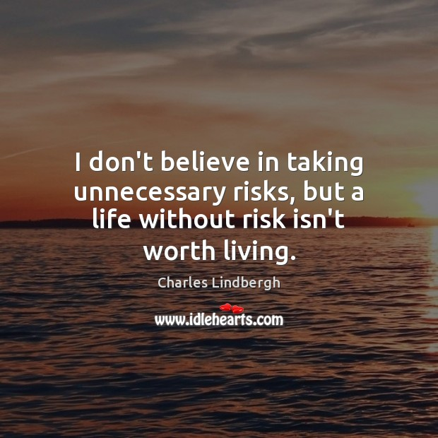 Image, I don't believe in taking unnecessary risks, but a life without risk isn't worth living.