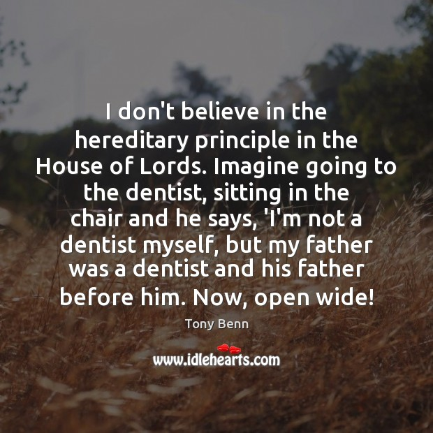 Image, I don't believe in the hereditary principle in the House of Lords.
