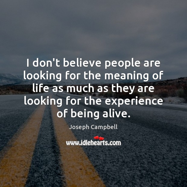I don't believe people are looking for the meaning of life as Joseph Campbell Picture Quote