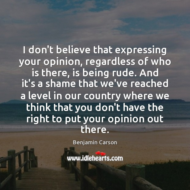 Image, I don't believe that expressing your opinion, regardless of who is there,