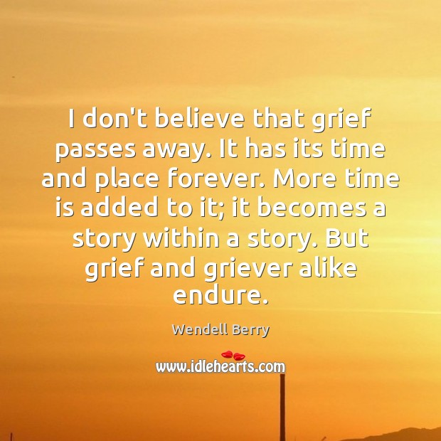 Image, I don't believe that grief passes away. It has its time and