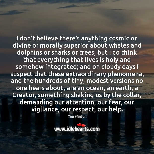 I don't believe there's anything cosmic or divine or morally superior about Tim Winton Picture Quote