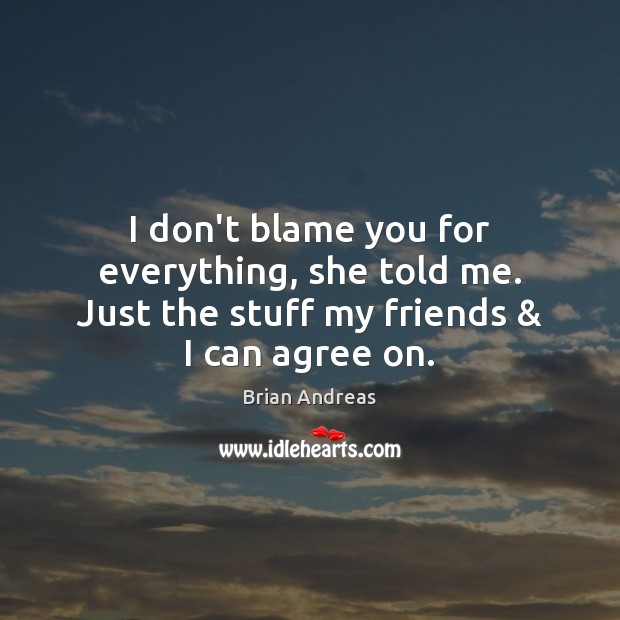 I don't blame you for everything, she told me. Just the stuff my friends & I can agree on. Brian Andreas Picture Quote