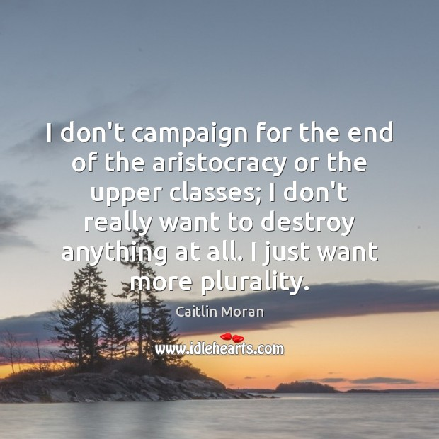 I don't campaign for the end of the aristocracy or the upper Image