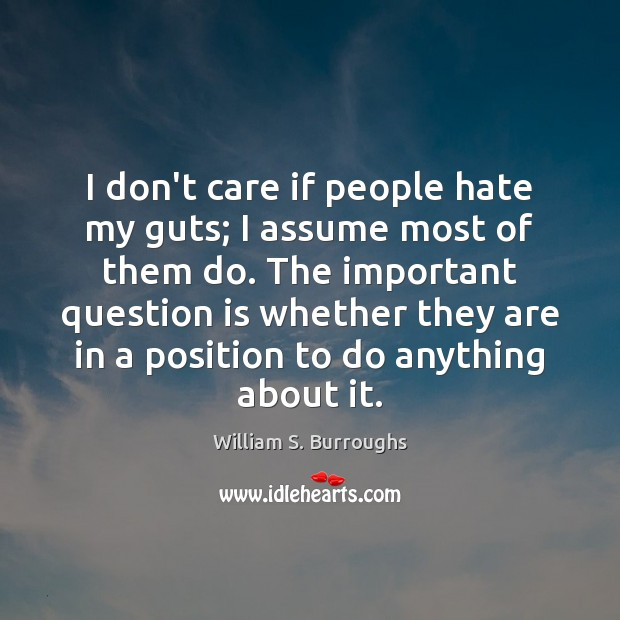 I don't care if people hate my guts; I assume most of Image