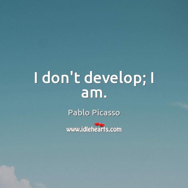 Image, I don't develop; I am.