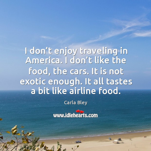Image, I don't enjoy traveling in america. I don't like the food, the cars. It is not exotic enough. It all tastes a bit like airline food.
