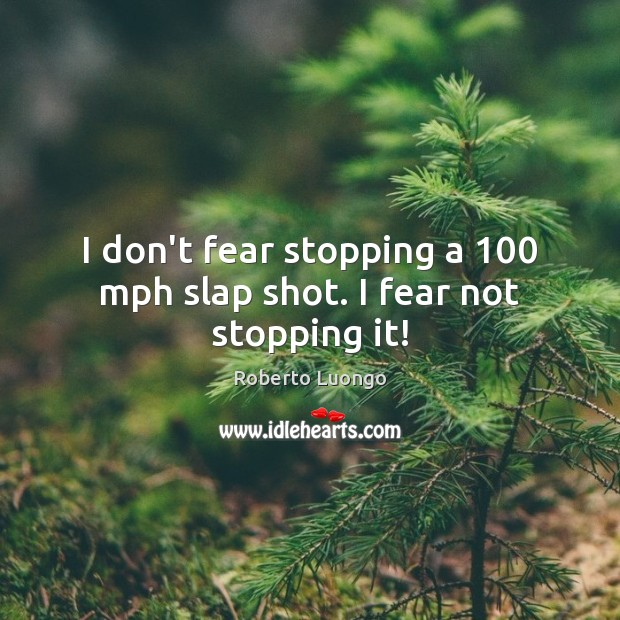 I don't fear stopping a 100 mph slap shot. I fear not stopping it! Image