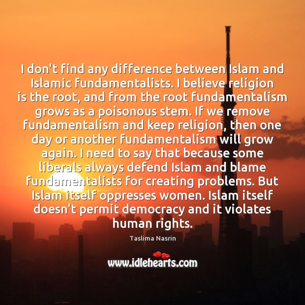 I don't find any difference between Islam and Islamic fundamentalists. I believe Religion Quotes Image