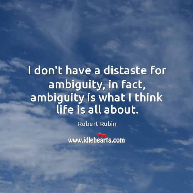Image, I don't have a distaste for ambiguity, in fact, ambiguity is what