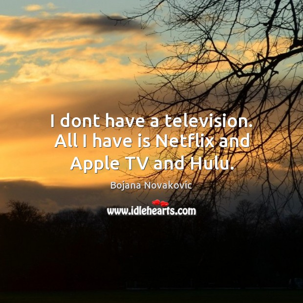 Image, I dont have a television. All I have is Netflix and Apple TV and Hulu.