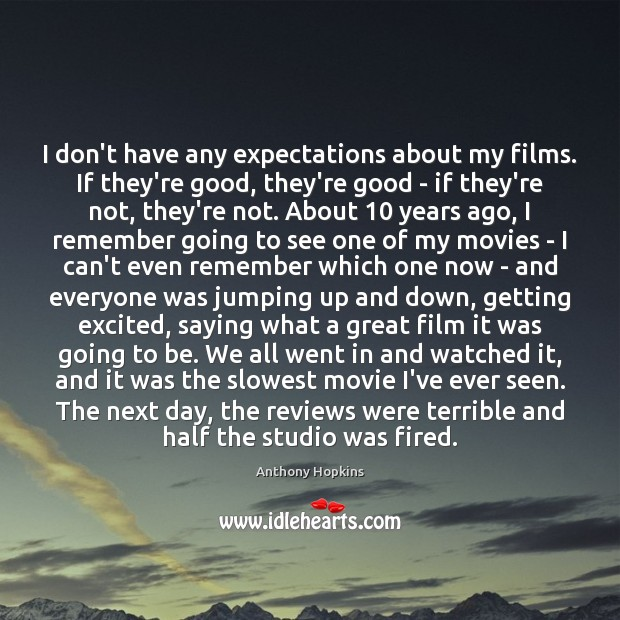 I don't have any expectations about my films. If they're good, they're Image