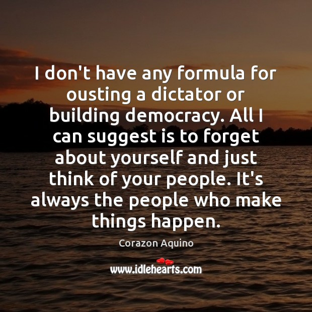 I don't have any formula for ousting a dictator or building democracy. Image