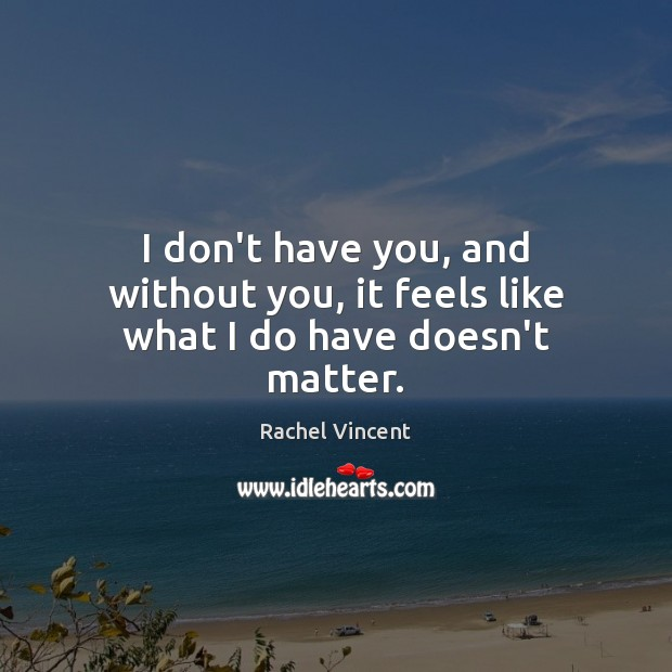 I don't have you, and without you, it feels like what I do have doesn't matter. Rachel Vincent Picture Quote