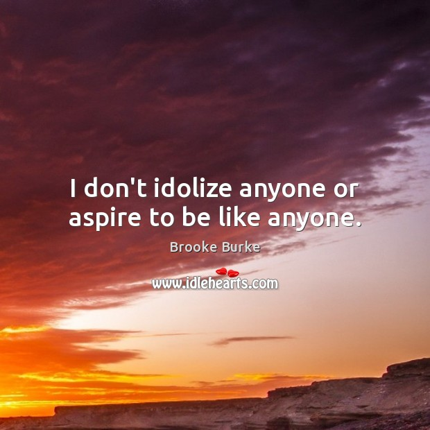 I don't idolize anyone or aspire to be like anyone. Brooke Burke Picture Quote
