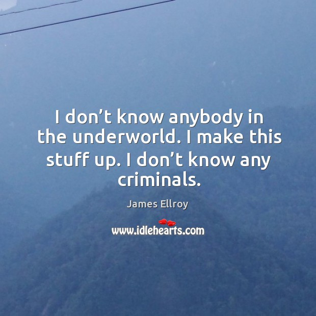 I don't know anybody in the underworld. I make this stuff up. I don't know any criminals. James Ellroy Picture Quote