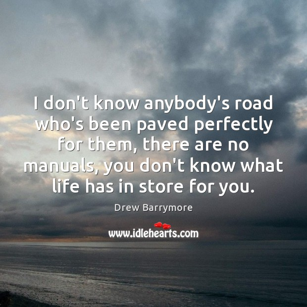 I don't know anybody's road who's been paved perfectly for them, there Image